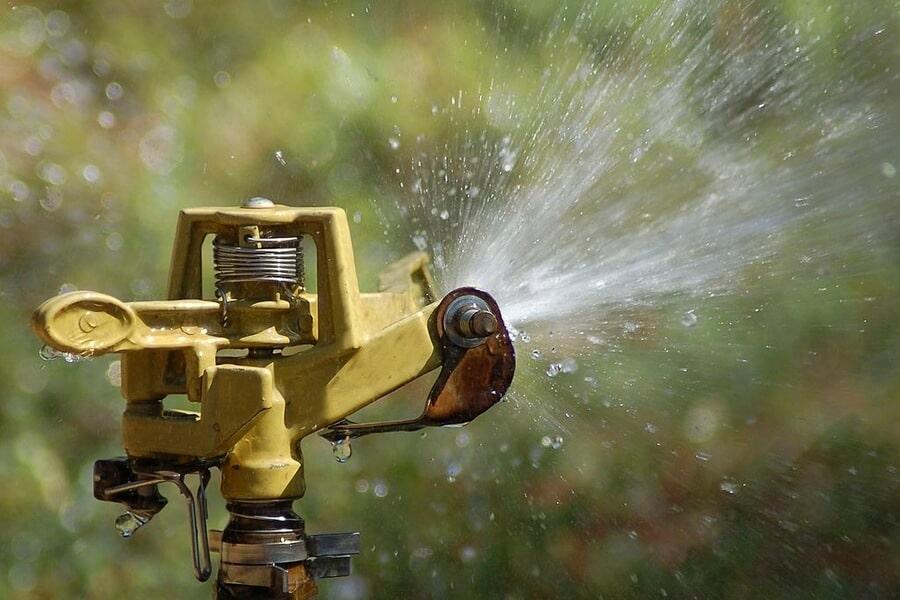 Sprinkler head dispersing water on a garden in Perth